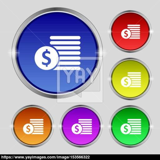 Buyer Menu Icon Sign Round Symbol On Bright Colourful Buttons