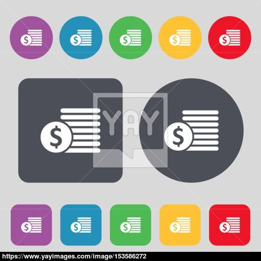 Buyer Menu Icon Sign A Set Of Colored Buttons Flat Design