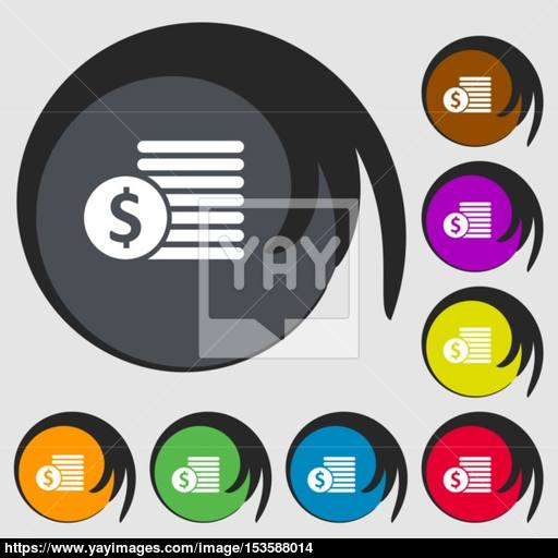 Buyer Menu Icon Symbols On Eight Colored Buttons Vector Vector