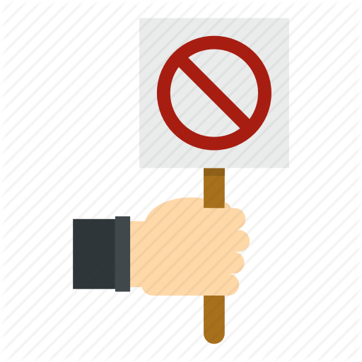 Board, Hand, Holding, Message, Placard, Stop, White Icon