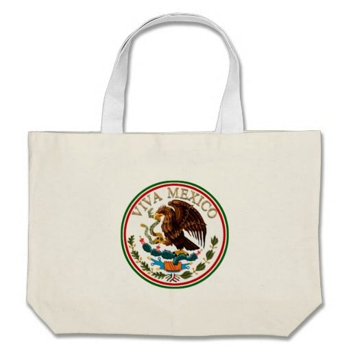 Viva Mexico Mexican Flag Icon W Gold Text Canvas Bag Gifts