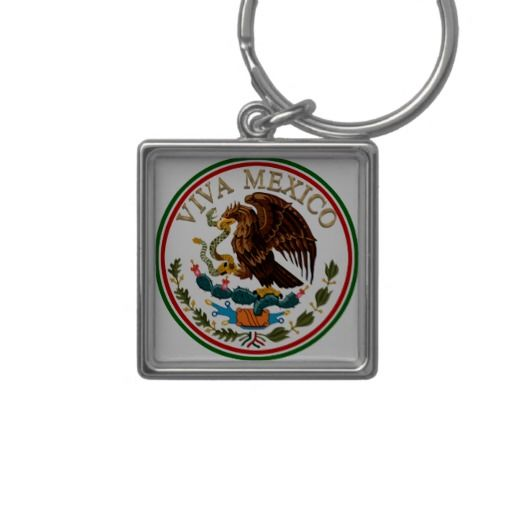 Viva Mexico Mexican Flag Icon W Gold Text Keychain Happy