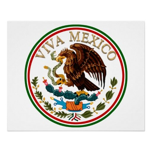 Viva Mexico Mexican Flag Icon W Gold Text Poster