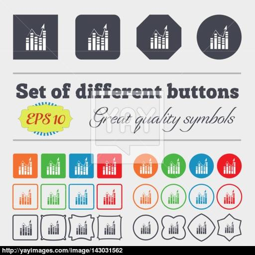 Graph Icon Sign Big Set Of Colorful, Diverse, High Quality