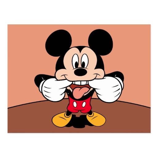 Modern Mickey Sticking Out Tongue Postcard Disney
