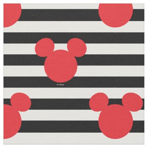 Mickey Mouse Icon Black White Striped Birthday Fabric