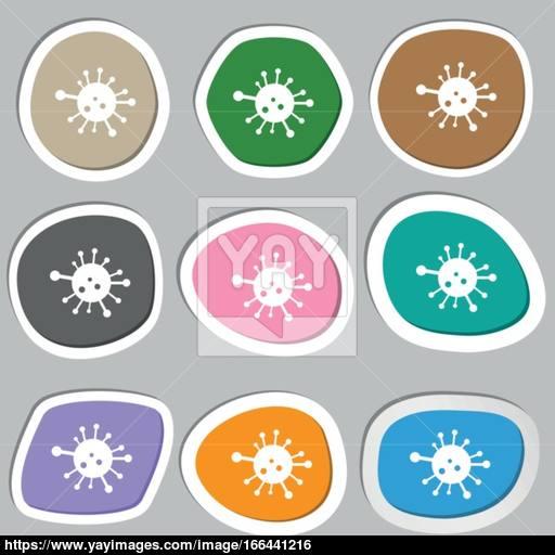 Bacteria Icon Symbols Multicolored Paper Stickers Vector Vector