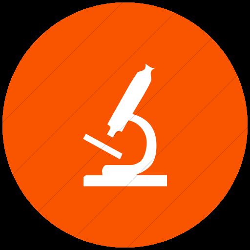 Flat Circle White On Orange Classica Microscope Icon