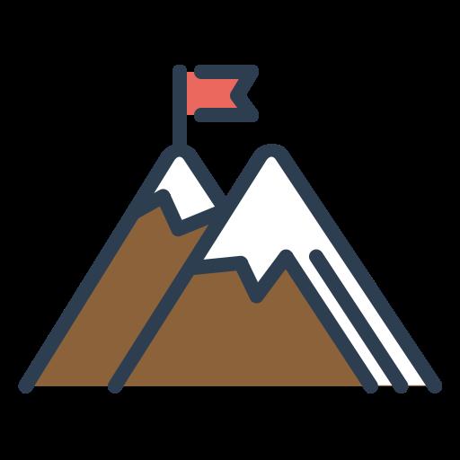 Achieve, Mountain, Target, Milestone, Flag, Goal, Peak Icon