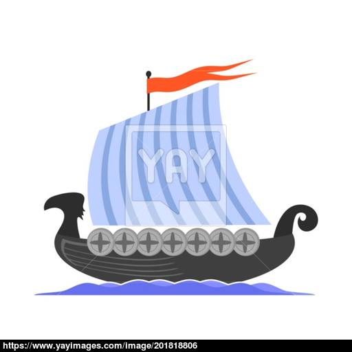 Viking Long Boat Icon Vector
