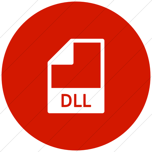 Flat Circle White On Red Mime Types Document Dll Icon