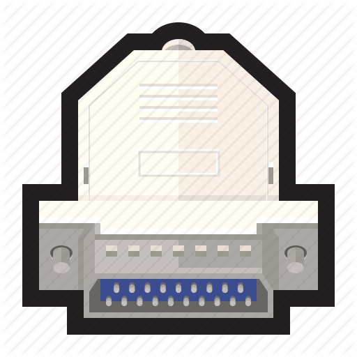 Cable, Parallel, Pin, Port, Printer, Serial Icon