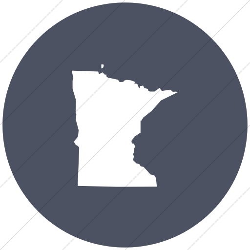 Flat Circle White On Blue Gray Us States Minnesota Icon