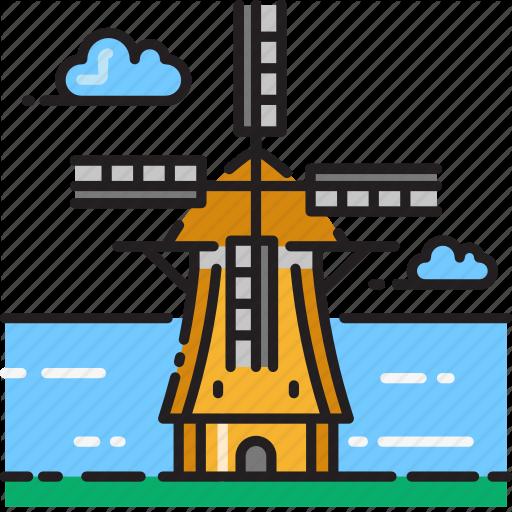 Energy, Kinderdijk, Turbine, Wind, Windmill Icon