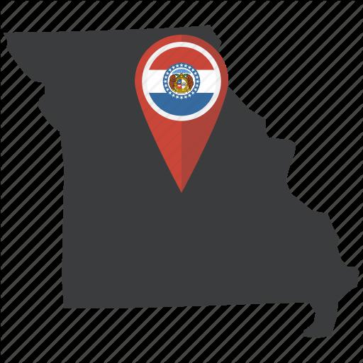 Flag, Map, Missouri, Navigation, Pin, State, United States Icon