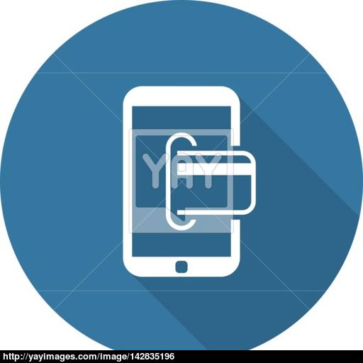 Mobile Banking Icon Business Concept Flat Design Vector