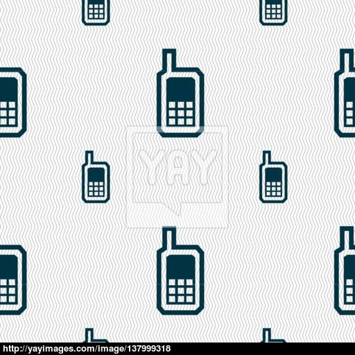 Mobile Phone Icon Sign Seamless Pattern With Geometric Texture