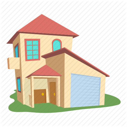 Building Cartoon Front Home Logo Modern House Roof Icon