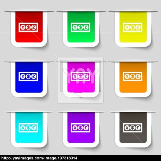 Cash Currency Icon Sign Set Of Multicolored Modern Labels