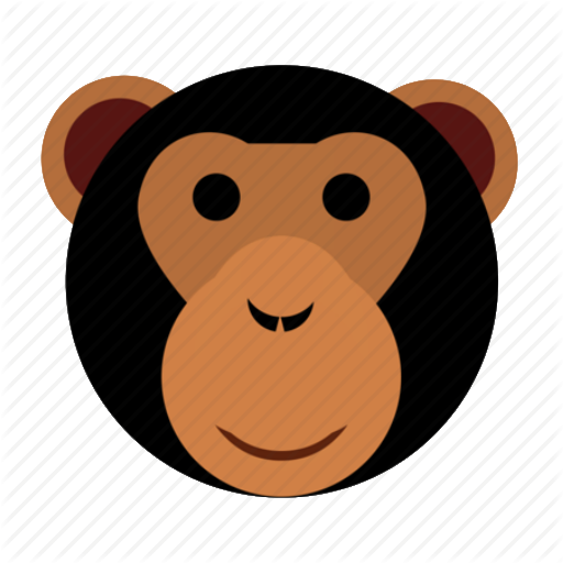 Ape, Cute, Face, Happy, Head, Monkey, Zoo Icon
