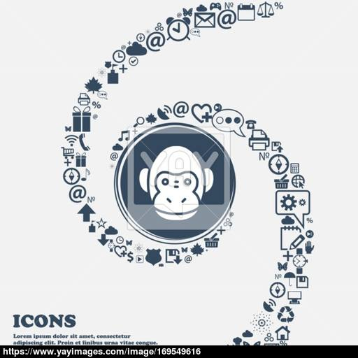 Monkey Icon In The Center Around The Many Beautiful Symbols
