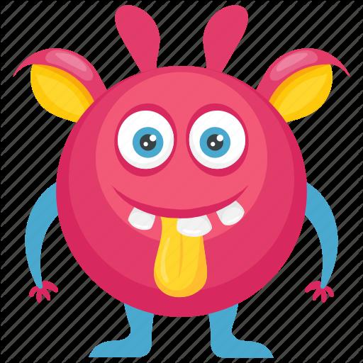 Beast, Demon, Furry Round Monster, Monster Character, Pink Monster