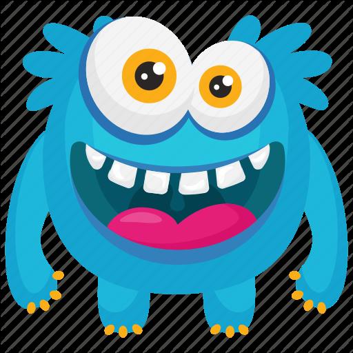 Blue Monster, Demon, Funny Monster, Furry Funny Monster, Smiling