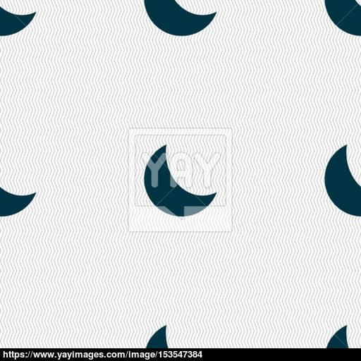 Moon Icon Sign Seamless Pattern With Geometric Texture Vector