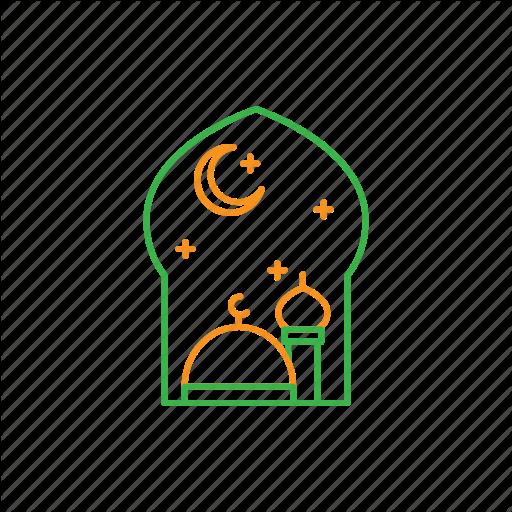 Moon, Mosque, Night, Star Icon