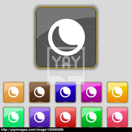 Moon Icon Sign Set With Eleven Colored Buttons For Your Site