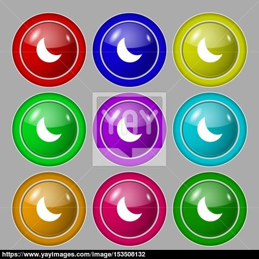 Moon Icon Sign Symbol On Nine Round Colourful Buttons Vector