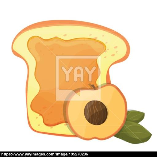 Peach Or Apricot Jam Breakfast Toast, Vector Morning Meal