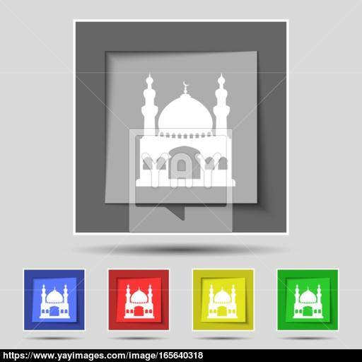 Turkish Architecture, Mosque Icon Sign On Original Five Colored