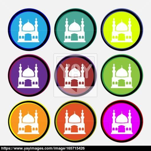Turkish Architecture, Mosque Icon Sign Nine Multi Colored Round