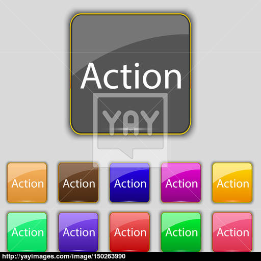 Action Sign Icon Motivation Button With Arrow Set Of Colored