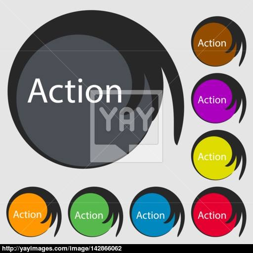 Action Sign Icon Motivation Button With Arrow Symbols On Eight