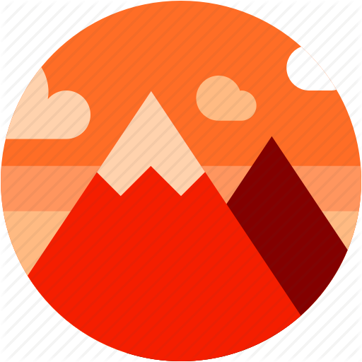 Circle, Dusk Sky, Flat Icon, Landscape, Mountan