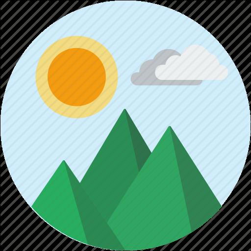 Circle, Landscape, Mountain, Scenery, Sun Icon