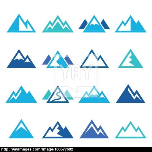 Mountain Vector Blue Icons Set Vector