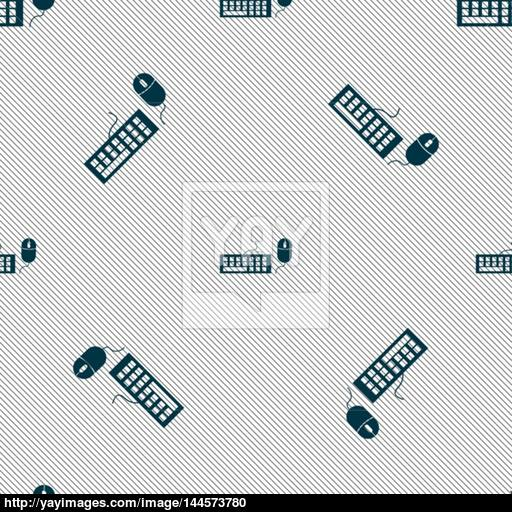 Computer Keyboard And Mouse Icon Seamless Pattern With Geometric