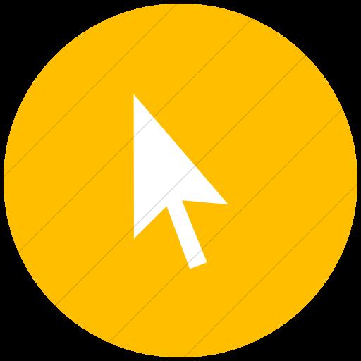 Flat Circle White On Yellow Classica Mouse Pointer Icon