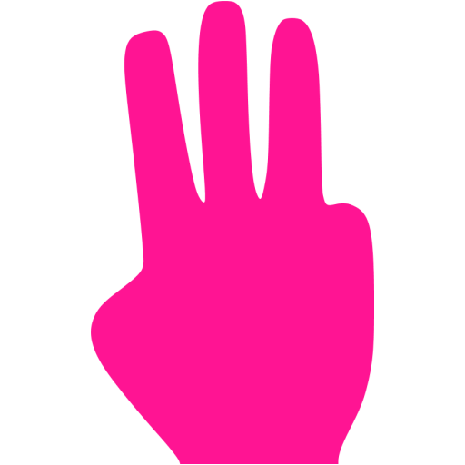 Deep Pink Three Fingers Icon