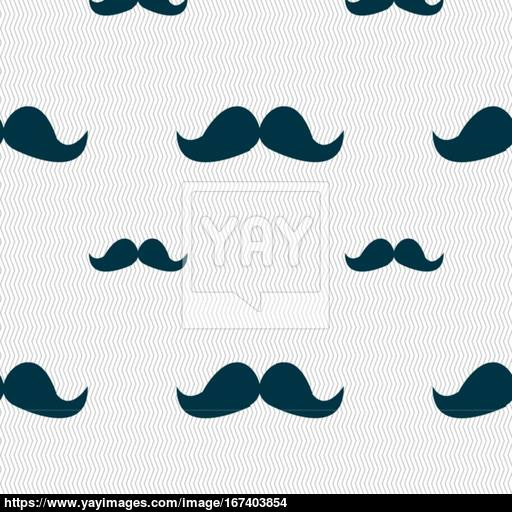 Retro Moustache Icon Sign Seamless Pattern With Geometric Texture