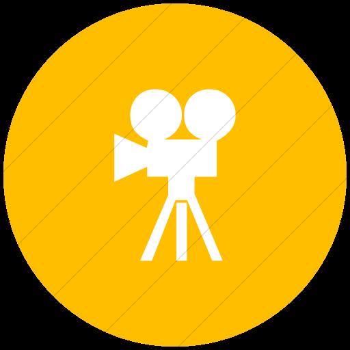 Flat Circle White On Yellow Classica Movie Camera Icon