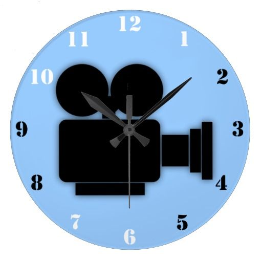 Retro Cine Camera Icon With Black White Numbers Large Clock