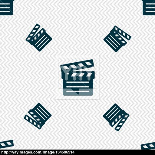 Cinema Clapper Icon Sign Seamless Pattern With Geometric Texture