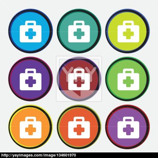 First Aid Kit Icon Sign Nine Multi Colored Round Buttons Vector