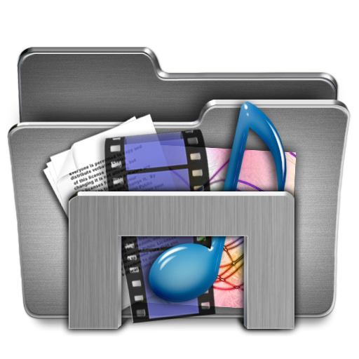 Library, Folder, Video, Music, Document Icon Free Of Steel System