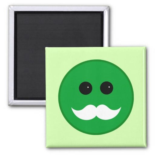 Green White Mustache Smiley Emoticon Magnets