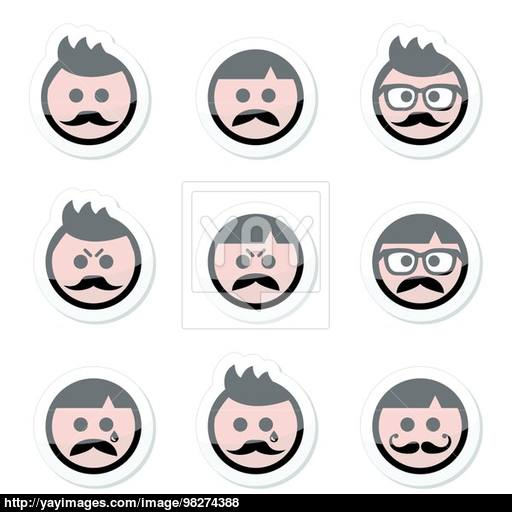Man With Moustache Or Mustache, Avatar Vector Labels Set Vector